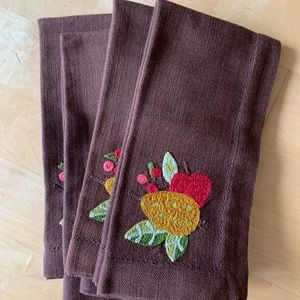 Williams Sonoma brown cloth embroidered napkins